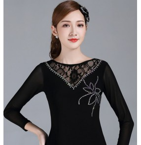 Black lace latin ballroom practice dance tops for women stage performance dance blouses