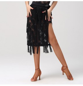 black Lace Latin dance wrap hip scarf skirt for women fringed lace tie hip skirt for female