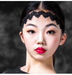 Black Lace Latin headband for girls kids stage performance black lace ballroom headband headdress