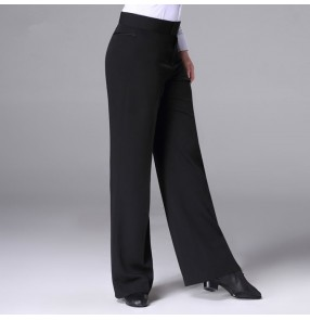Black latin ballroom dance pants for male men's competition jive chacha samba salsa dance long trousers pants