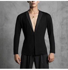 Black latin dance shirt for men male competition stage performance ballroom waltz tango dance blazers tops rumba chacha dance lapel tops
