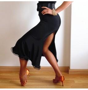 Black latin dance skirts fish bone skirt back split sexy stage performance salsa rumba chacha dance skirts