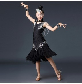 Black latin dresses for girls children rhinestones competition samba chacha rumba salsa dancing dress skirt