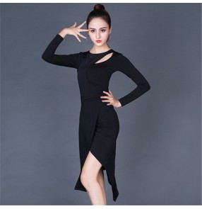 Black long sleeves women's latin dance dresses side split irregular hem salsa dresses modal material samba salsa chacha dance dresses
