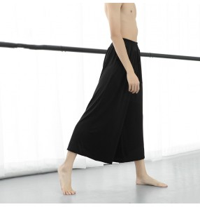 Black loose taichi sports yoga modern dance thin cotton pants exercise clothes for male men's physical training clothes yoga dance loose trousers