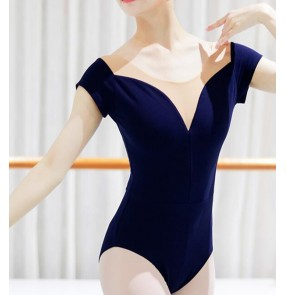Black navy Ballet Latin practice clothes adult female mesh cotton fabric body suit art test short-sleeved basic training gymnastics suit aerial yoga coveralls