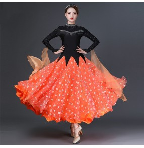 Black orange flowers competition ballroom dance dress for women stage performance waltz tango dance diamond dress ballroom dance skirts for female