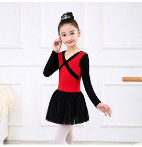 Black red ballet dress for girls children kids tutu skirts leotards practice exercises stage performance professional costumes dresses