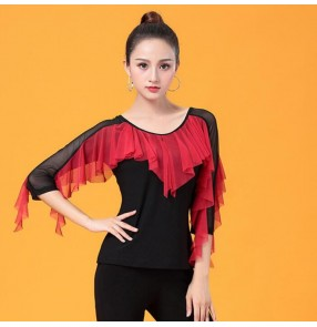 Black red ballroom dancing tops for women female latin competition stage performance salsa chacha rumba blouses