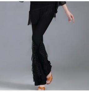 Black red fringes ballroom latin dance long pants for women female