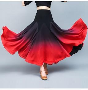 Black red gradient color ballroom dance skirts for women female modern dance flamenco waltz tango dance skirts for lady
