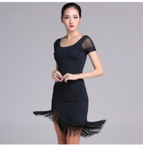 Black red  grey plaid patchwork asymmetrical fringes hem skirts short sleeves tops women's salsa rumba latin dance dresses