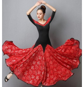 Black red lace competition ballroom dance dress for women competition rhinestones stage waltz tango dance dresses