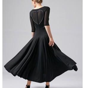 Black red mint ballroom dance dress for women girls waltz tango foxtort smooth tango dance dress swing ballroom dance costumes