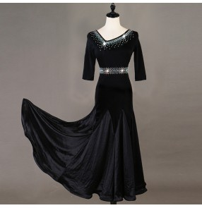 Black rhinestones competition ballroom dancing dress for women female stage performance waltz tango dance dress