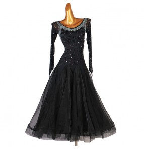 Black rhinestones competition ballroom dancing dress for women girls waltz tango dance dress costumes for female