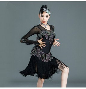 Black rhinestones fringes competition latin dance dress for kids children girls salsa dance dresses