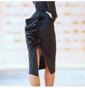 Black ruffles latin dance skirtsfor women back split sexy rumba chacha dance skirts for female