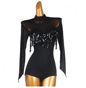 Black sequins tasssels ballroom latin dance bodysuits stage performance singers modern jazz dance waltz tango dance jumpsuits