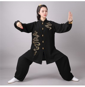 Black Tai Chi clothing chinese kungfu suit Embroidered mid-length moring exercise gyms clothes for men and women wushu martial arts group performance clothes