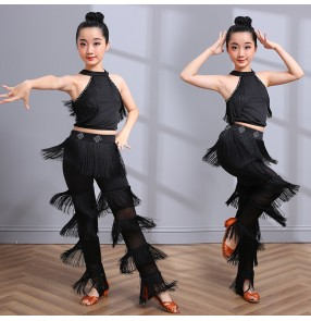 Black tassels competition girls kids latin dance dresses stage performance salsa rumba samba dance tops and pants