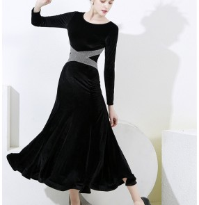 Black Velvet with silver ballroom dance dresses for women stage performance waltz tango dance dress for female lady ballroom dancing skirts