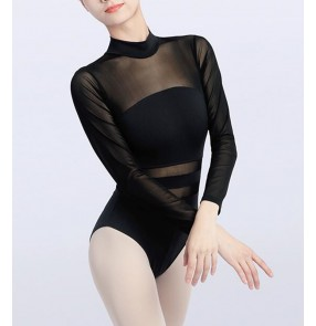 Black white ballroom latin Dance clothesfor adult female see through mesh ballet practice bodysuits long-sleeved gymnastics aerial yoga one-piece suit