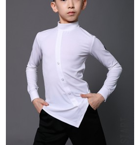 Black white Latin dance shirts for boys competition tops training clothes boys long-sleeved exercise clothes tops for kids