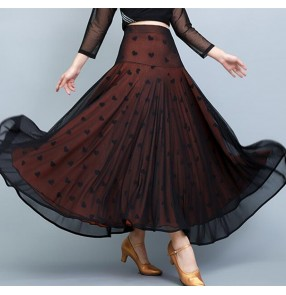 Black with apricot ballroom dancing skirts for women lady stage performance practice exercises tango waltz dance skirts for female