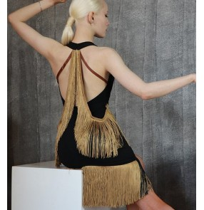 Black with brown fringed Latin dance dress women Sexy Halter Fringed Dress Dance performance clothing competition salsa chacha clothing