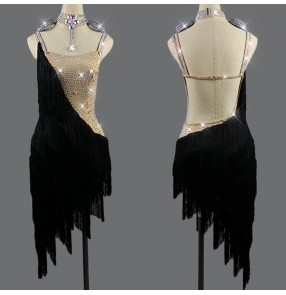 Black with flesh diamond competition stage performance latin dance dresses tassels rumba samba dance dresss skirts