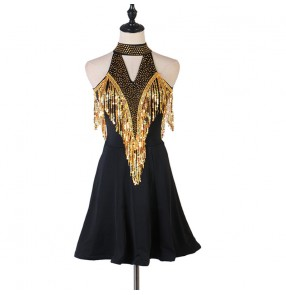 Black with gold fringes diamond competition latin dance dresses for women salsa rumba chacha dance dress costumes