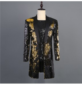 Black with gold sequin jazz dance long blazers fow men male stage performance host singers performing long coats