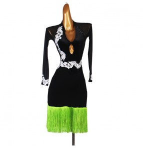Black with green fringe competition latin dance dresses for women girls long sleeves tassels rumba chacha salsa latin dance costumes for lady