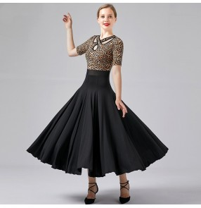Black with leopard ballroom dancing dresses for women female tango waltz dance dress