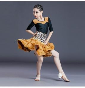 Black with leopard girls latin dance dress tassels latin ballroom dance costumes for kids
