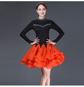 Black with orange red rhinestones competition latin dance dress for women stage performance latin dance skirts salsa rumba chacha dance dresses