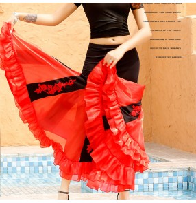 Black with red ballroom dance skirts for women stage Jitba dance with embroidered flowers long skirt belly waltz tango dance skirts for female