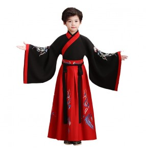 Black with red chinese hanfu dresses Children's retro chinese styles costume hanfu Young Master Dress Recitation swordsman Tang Dress for boy