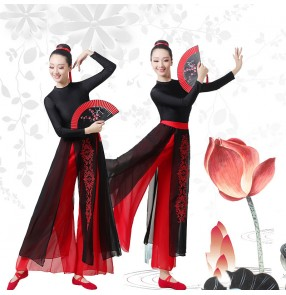 Black with red Chinese traditional Classical dance costume female Chinese style girl group fan dance dress ancient style practice clothes