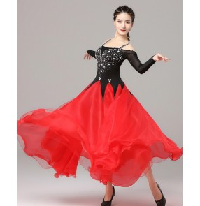 Black with red competition ballroom dance dresses for women waltz tango dance dresses stage performance ballroom dance costumes