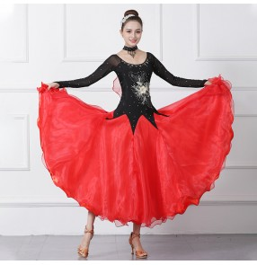 Black with red competition women's ballroom dancing dresses waltz tango dance dress costumes