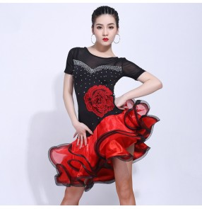 Black with red diamond flowers women's girls latin dance dresses stage performance rumba salsa chacha dance dresses with ruffles skirts