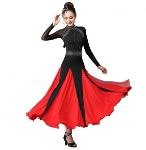 Black with red diamond long sleeves ballroom dancing dresses for women waltz tango foxtrot dance dress