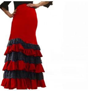 Black with red flamenco dance skirts for women girls paso double spanish bull dance skirts ballroom dance skirts for lady
