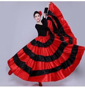 Black with red flamenco dance skirts for women paso double spanish bull dance swing skirts ballroom dance skirts for female