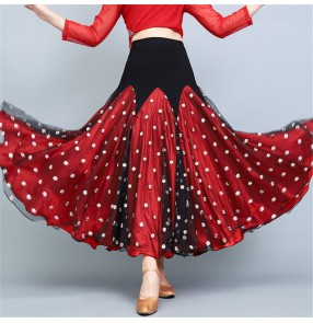 Black with red polka dot ballroom dance skirts for female stage performance practice ballroom dancing swing skirts tango waltz dance skirts for female