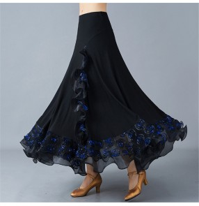 Black with royal blue ballroom dancing skirts for women waltz tango ballroom dancing skirts for female lady swing practice stage performance swing skirts