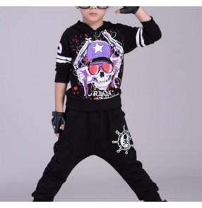 Black with skull pattern fashion boys kids children student stage performance hip hop fashion hoddies sportswear street dancing outfits costumes