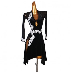 Black with white embroidered diamond competition latin dance dresses for women girls stage performance salsa latin dance dress chacha latin dance costumes for female